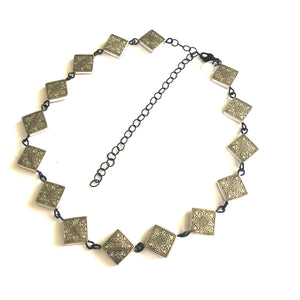 Silver Square Beaded Necklace