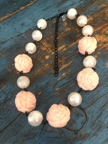 Peach Flower & White Moonglow Beaded Amelia Necklace