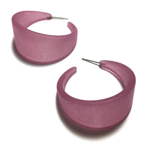 Amethyst Purple Large Bettie Frosted Lucite Hoop Earrings