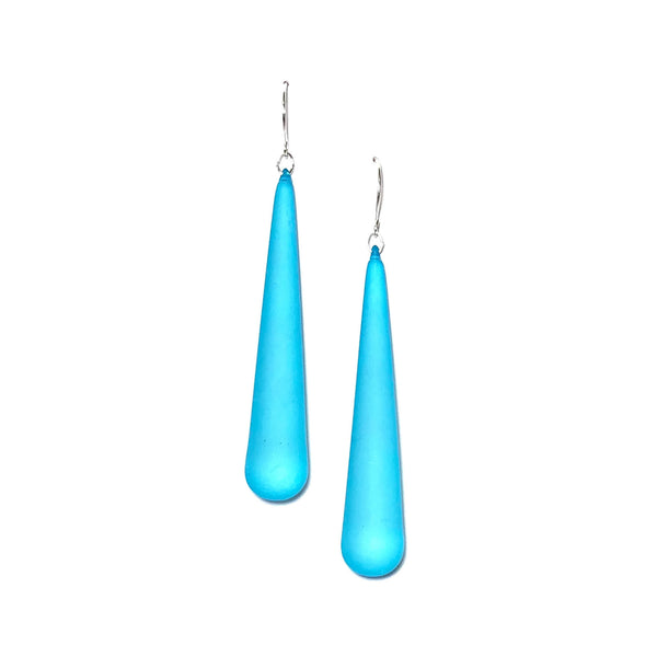 Aqua Blue Frosted Long Teardrop lucite statement earrings