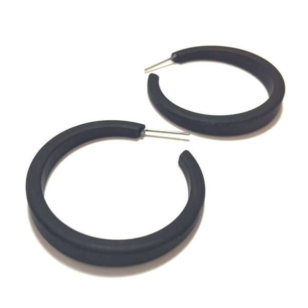 skinny black hoop earrings
