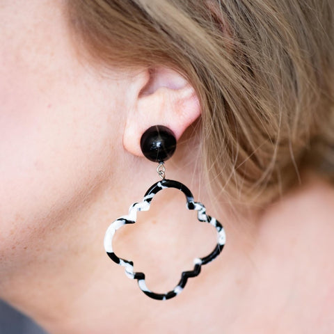 Black & white, black earrings, white earrings, jewelry model