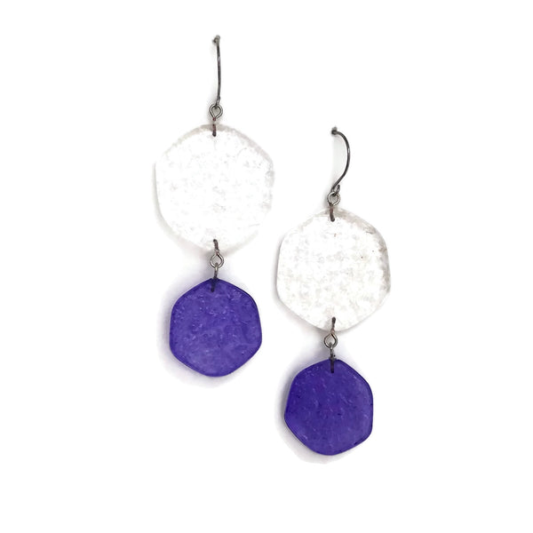 blue clear earrings