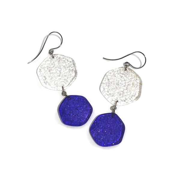 blue statement lucite earrings