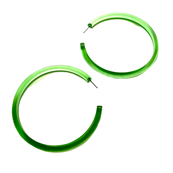 bright green hoop earrings