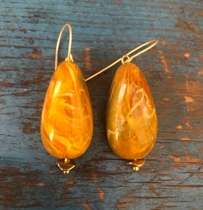 Golden Topaz Marbled Chunky Drop Earrings