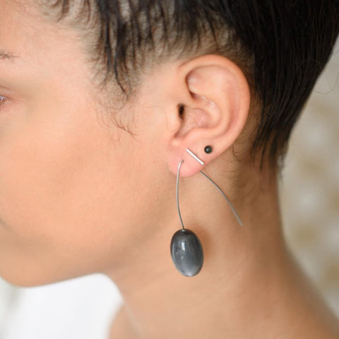 Dark Grey Moonglow Pod Drop Hoop Earrings