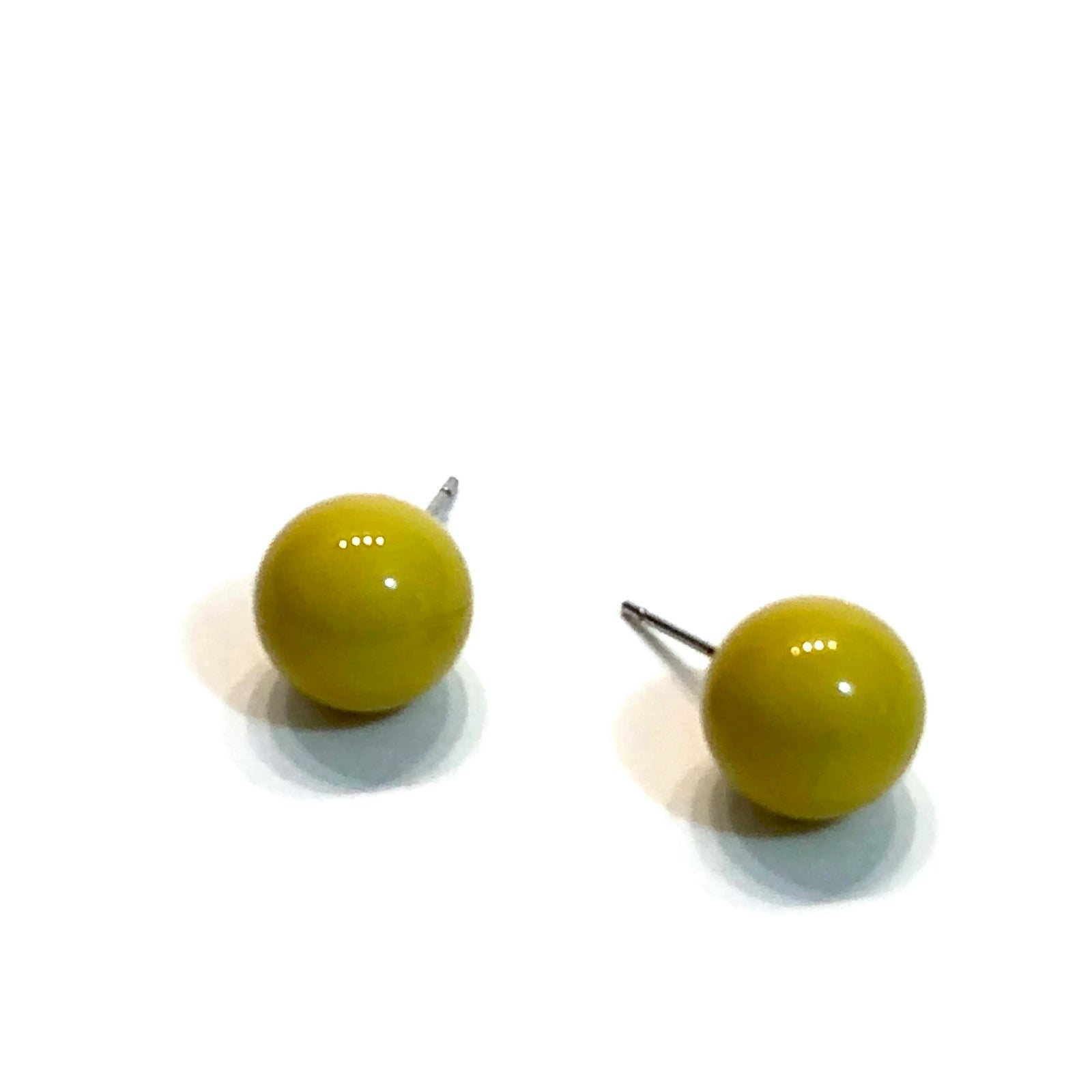 olive green stud earrings