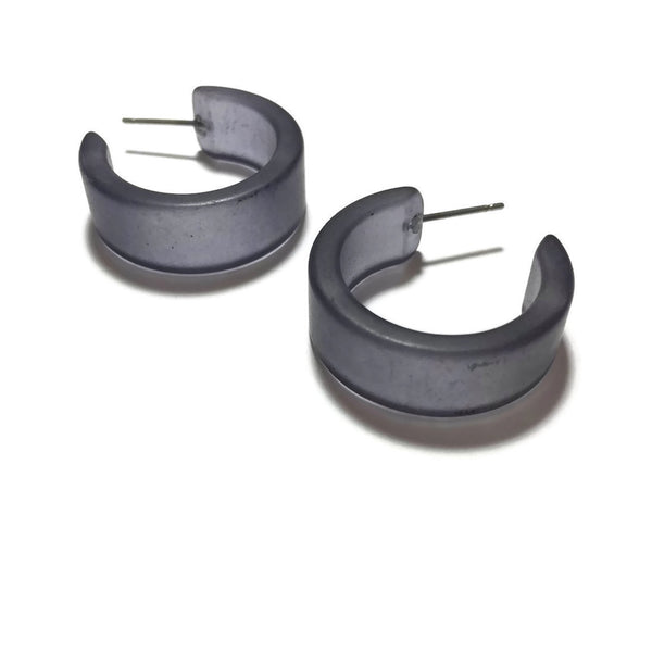 Charcoal Gray Frosted Wide Classic Hoop Earrings