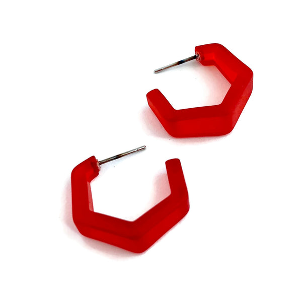 bright red faceted hoops