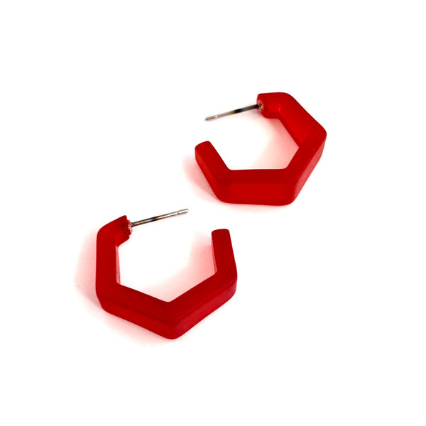 bright red hex earrings
