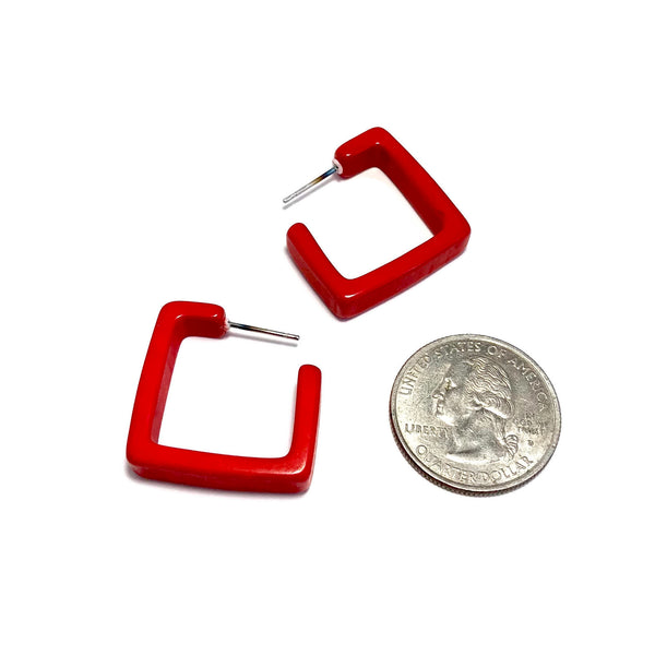 cherry red square earrings