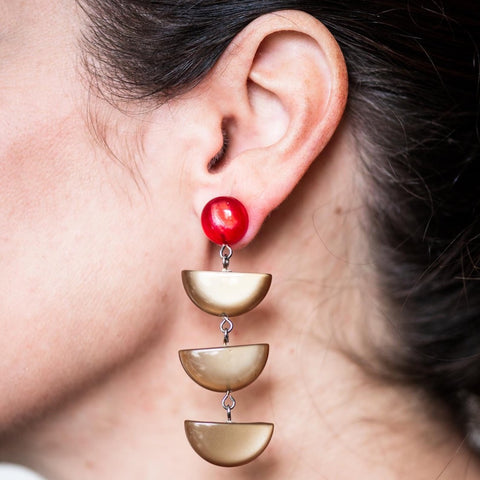 Chocolate & Ruby Moonglow Fish Scale Earrings