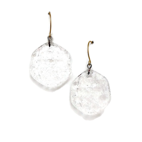 clear textured earrings lucite