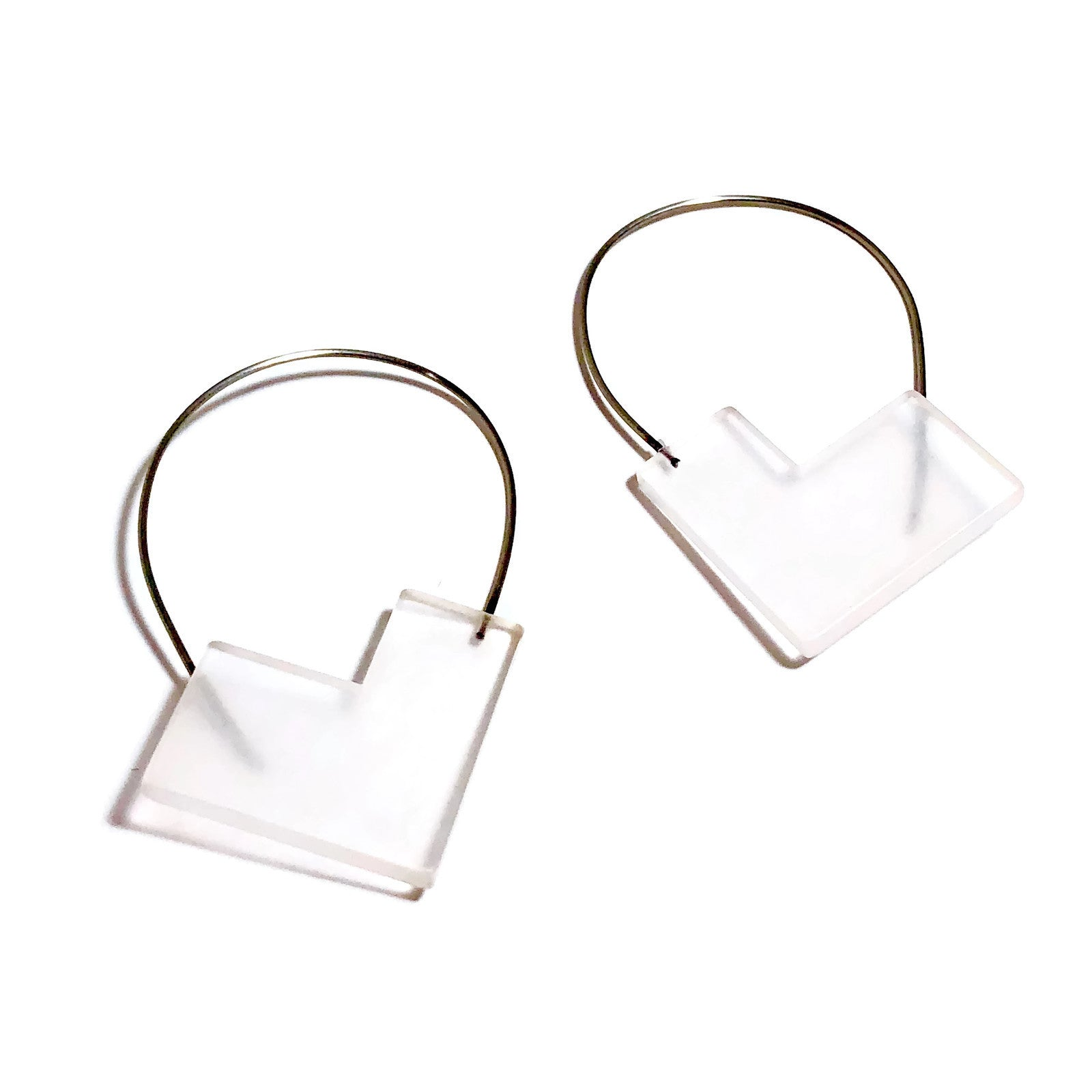 clear angled earrings