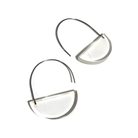 clear half circle earings