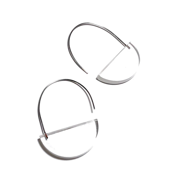 clear lucite crescent earrings