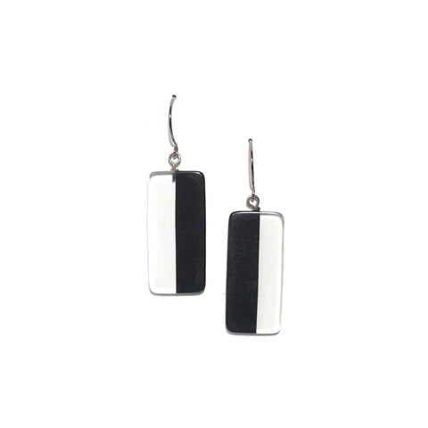 clear black drop earrings