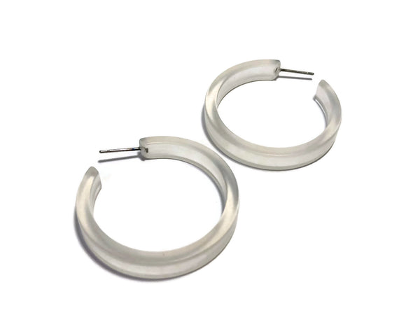 Clear Frosted Classic Hoop Earrings