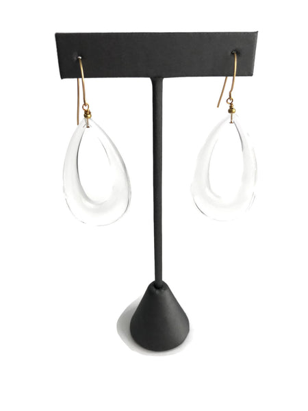 clear teardrop statement earrings