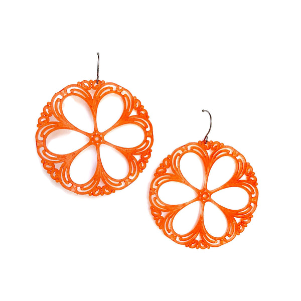 coral lucite earrings