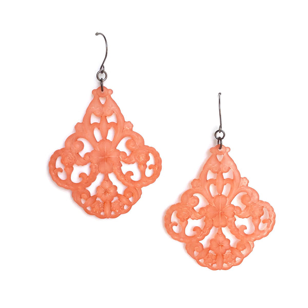 coral matte earrings