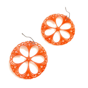 deep coral earrings