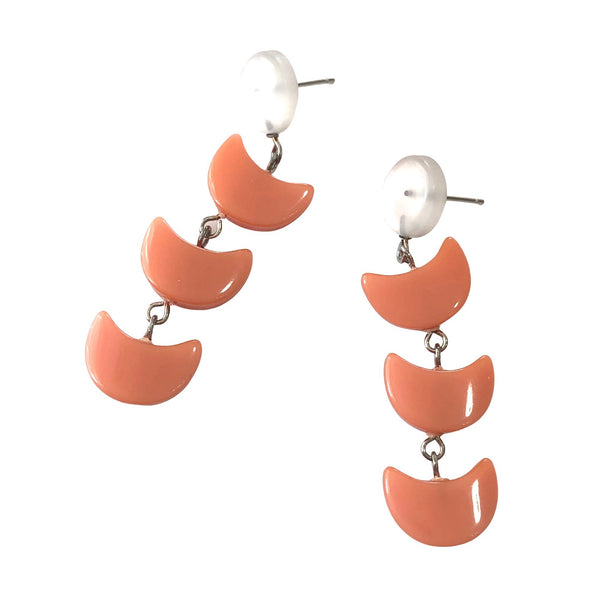 long peach earrings