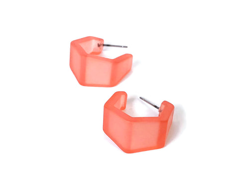 coral hexagon hoops
