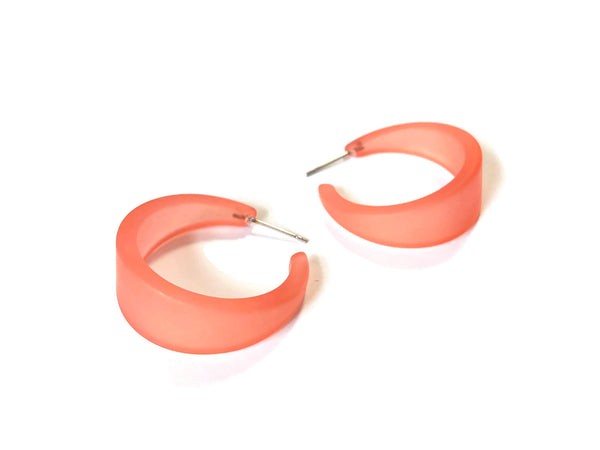 salmon hoop earrings