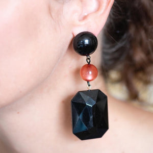 Coral Moonglow & Black Chunky Gem Earrings