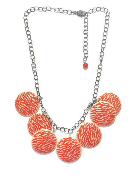 hammered coral necklace