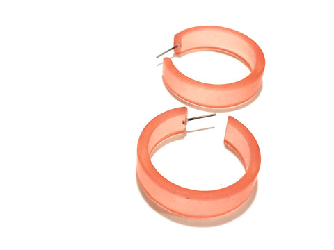 Coral Hoop Earrings | Vintage Lucite Frosted Large Portland Hoops