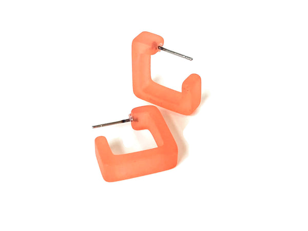 frosted coral square earrings