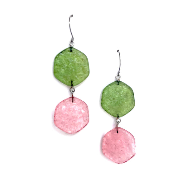 olive green and pink earrings