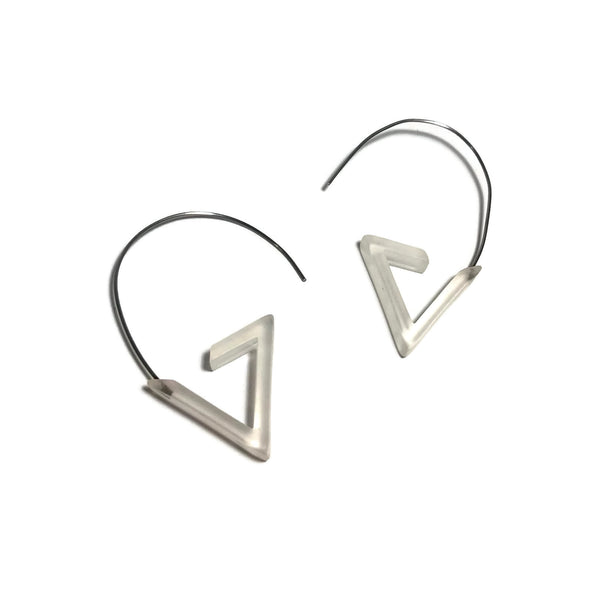frosted triangle earrings