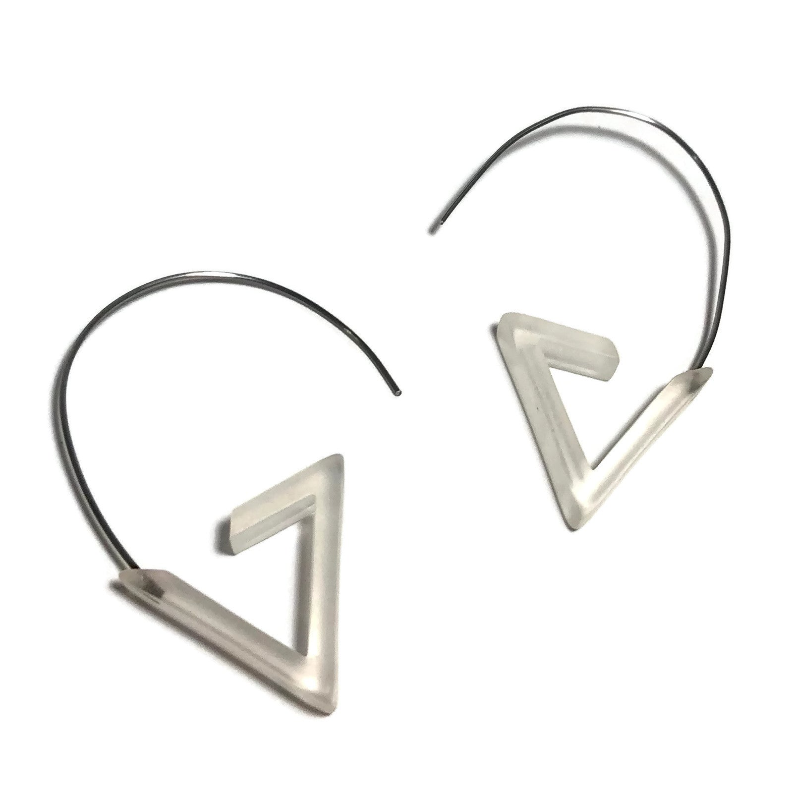 clear triangle earrings