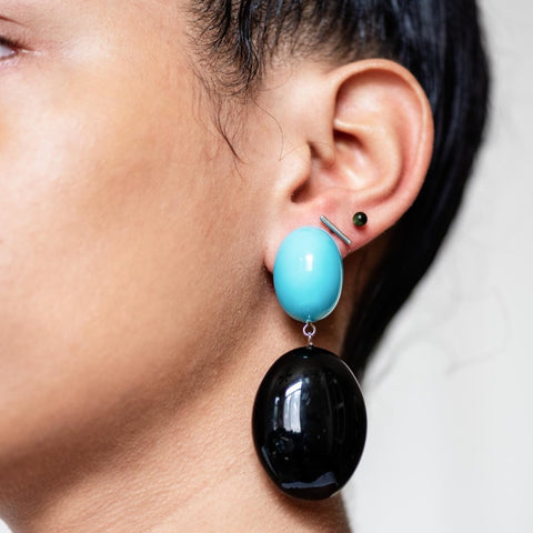 Turquoise & Black Oval Retro Statement Earrings