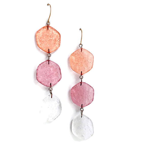 coral pink clear earrings