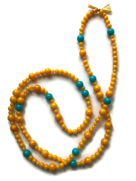 Golden Yellow & Turquoise Long Beaded Wrap Rope Necklace