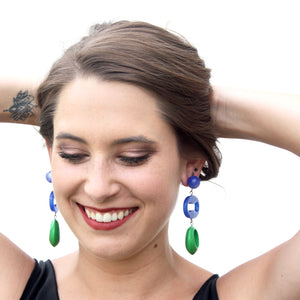 Cobalt & Kelly Triple Drop Mod Statement Earrings
