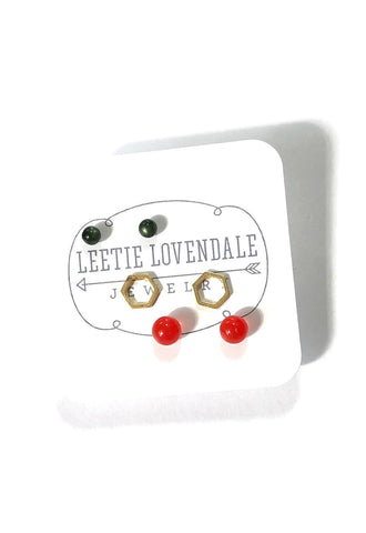 Tiny Forest Green Tomato Red & Frosted Silver Hexagon Geo Studs Earring Set