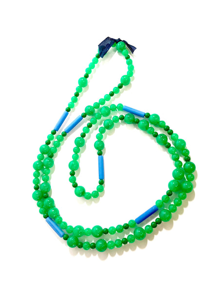 Emerald Green & Cobalt Blue Long Beaded Wrap Rope Necklace