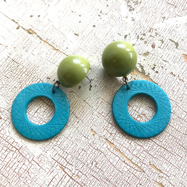 teal olive green statement earrings