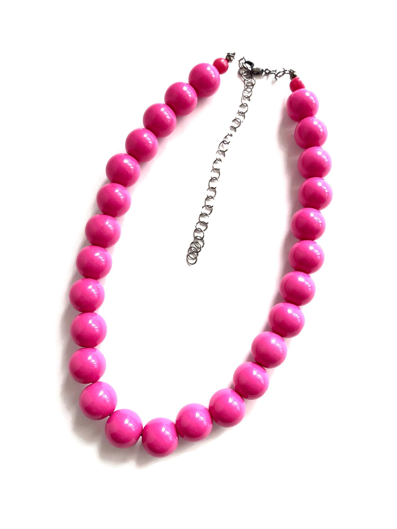 hot pink lucite necklace