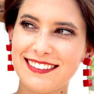 red cube earrings