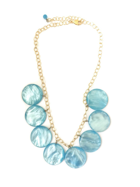 blue lucite statement necklace