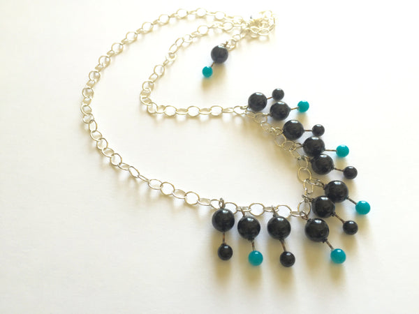 black turquoise chain necklace