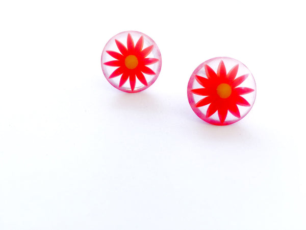 dark orange stud earrings