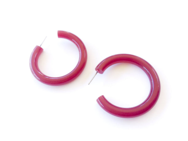 dark red big hoops